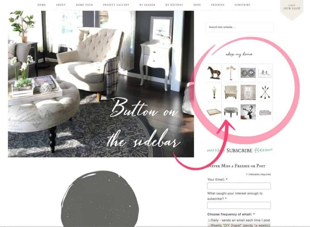 Shop My Home Image Hover Feature