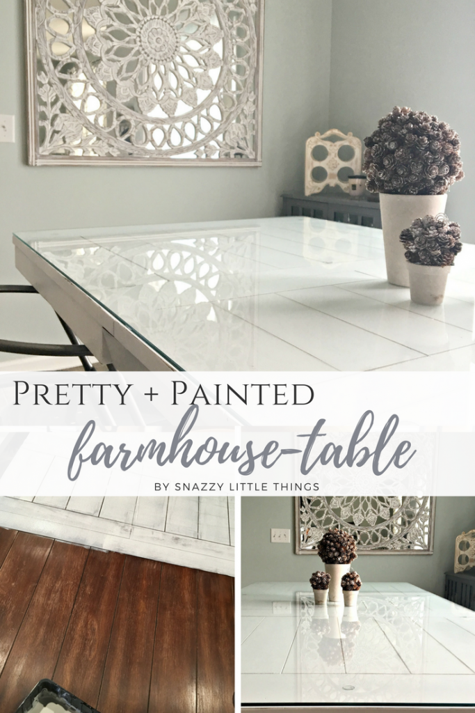 Pretty + Painted Farmhouse Table by SnazzyLittleThings.com