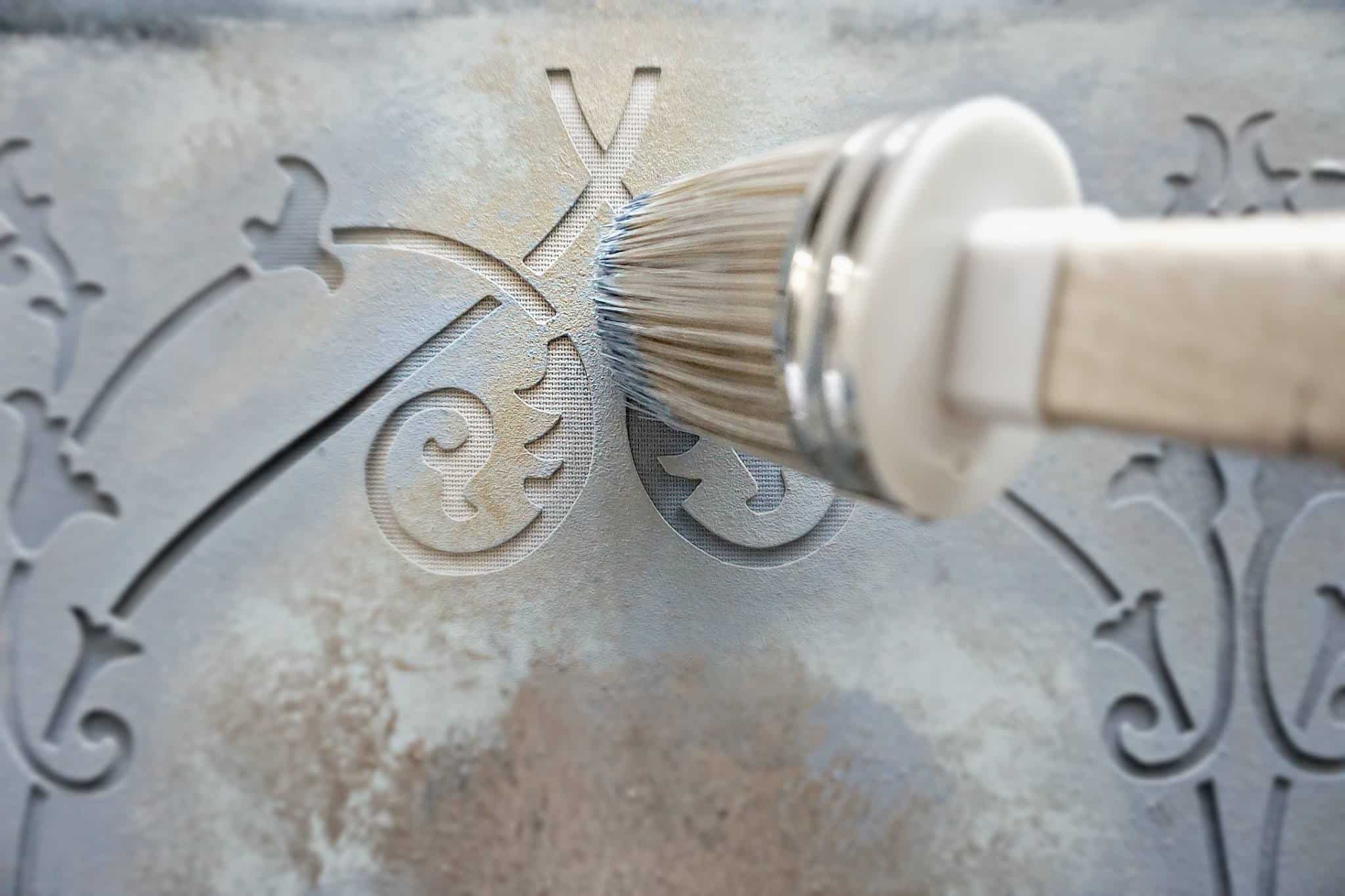 Heritage Collection All in One Chalk Paint painting fabric with a stencil