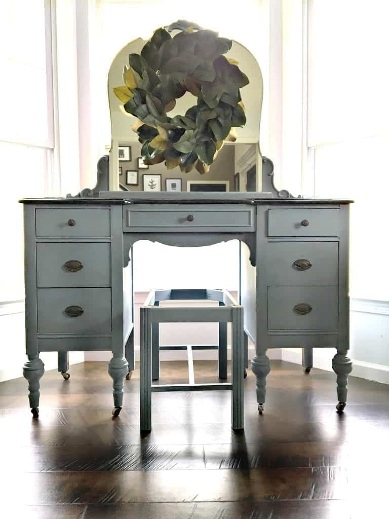 Antique Blue Vanity with Scroll Stencil front view