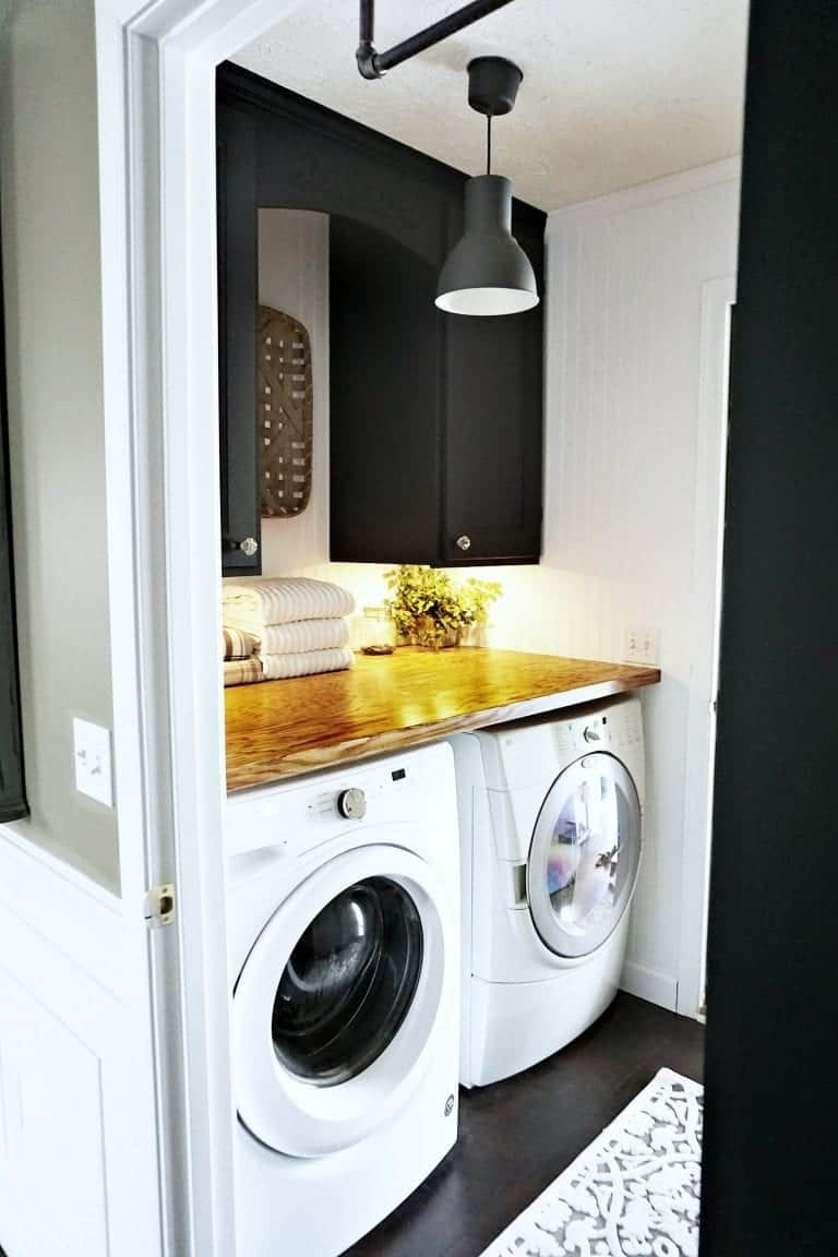 Tiny Modern Farmhouse Laundry Room MAKEOVER