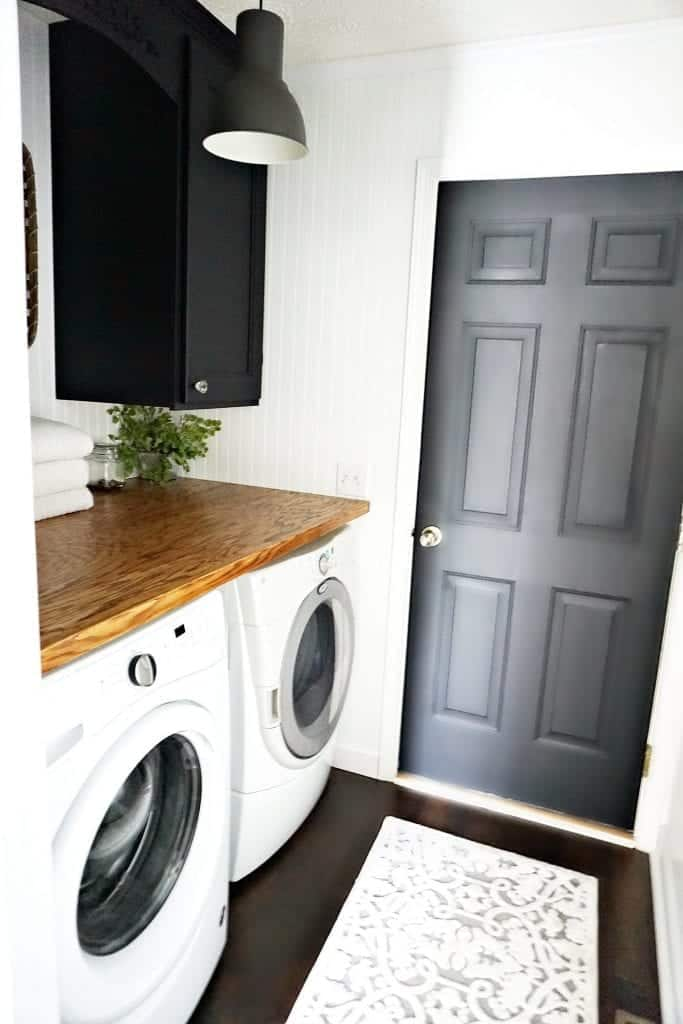 Laundry Room Makeover Black doors and White Beadboard