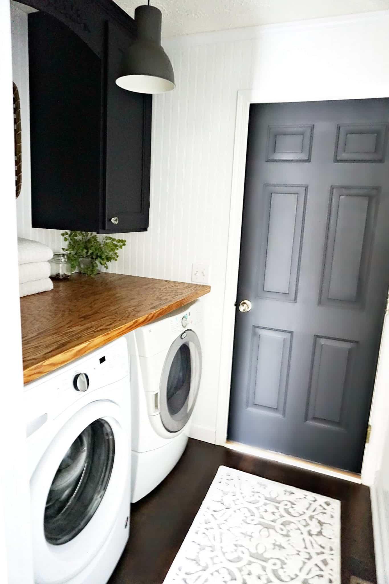 Laundry Room Makeover Black doors and White Beadboard