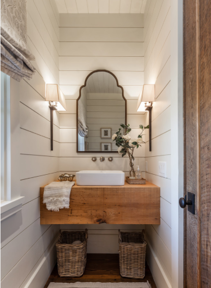 4 simple ways to update your guest bath snazzy little things - Powder room sink ideas ...