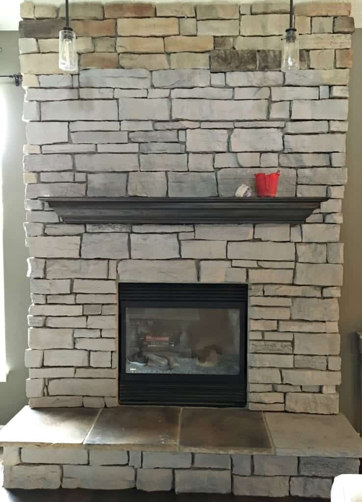 day 1 progress update painting our stone fireplace snazzy little things. Black Bedroom Furniture Sets. Home Design Ideas