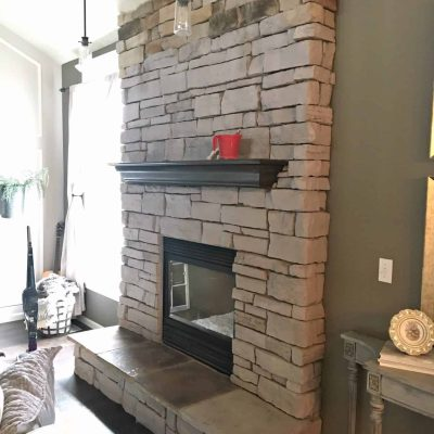 How to paint a stone fireplace progress update side view