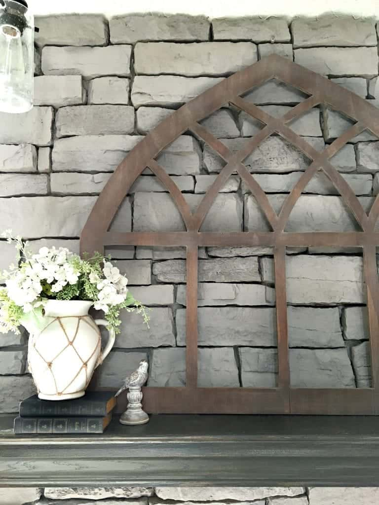 diy-cathedral-window-frame-fixer-upper stained light wax on mantel