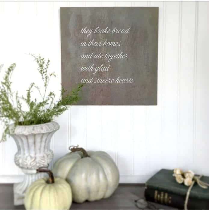 "Silhouette Cameo Rustic Sign Tutorial ""They Broke Bread"" sign, no frame"