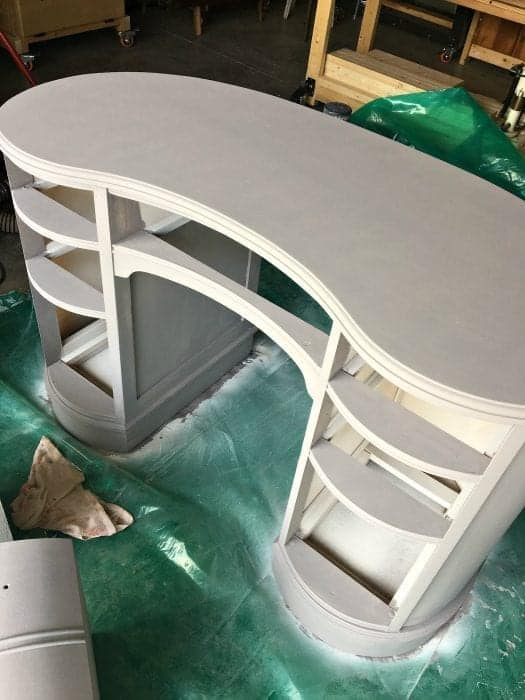 Antique Kidney Desk Makeover Sprayed with Primer Full View