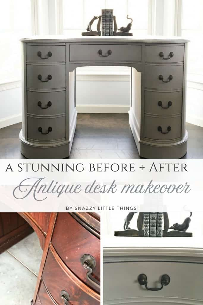 Antique Kidney Desk Makeover by Snazzy Little Things