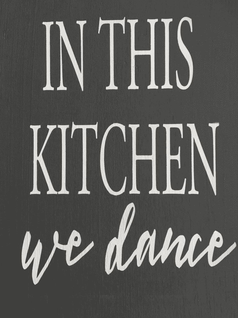 "In this kitchen...we dance"" wooden sign handmade by Snazzy Little Things"