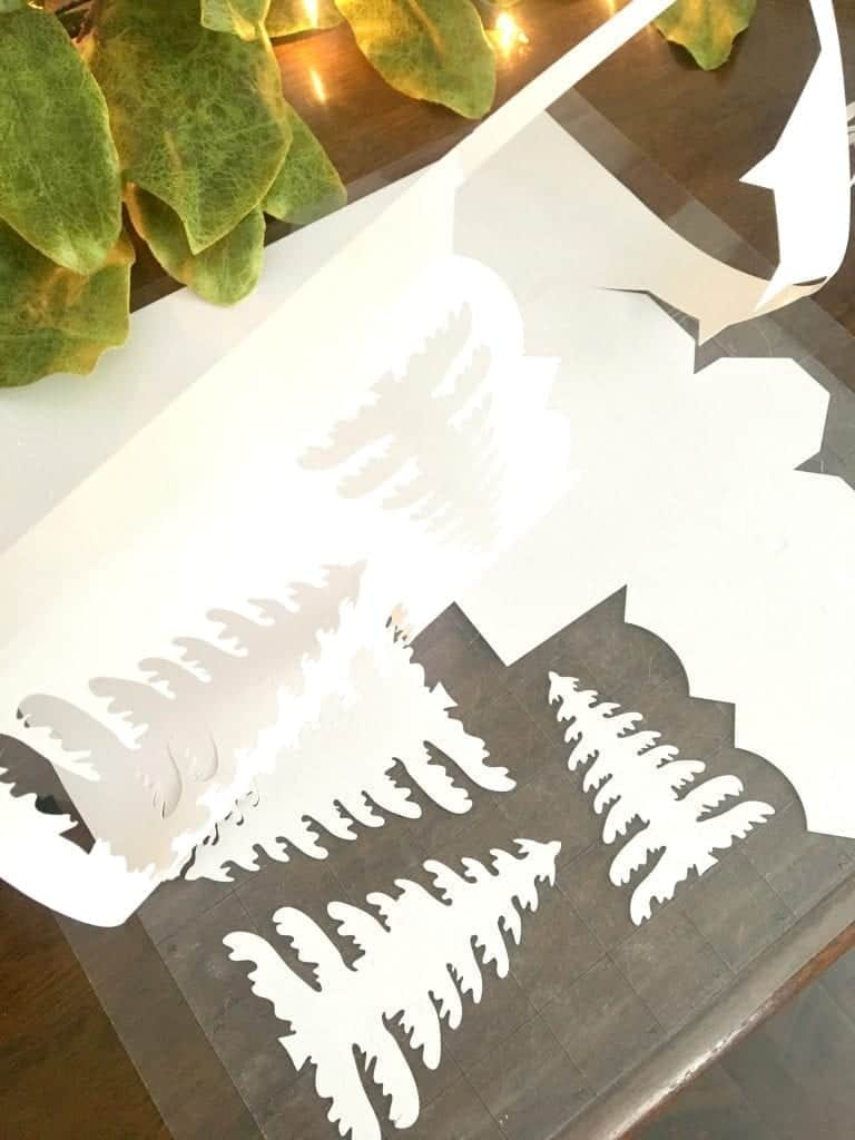 DIY Christmas Village Remove Paper from Silhouette Cut Mat