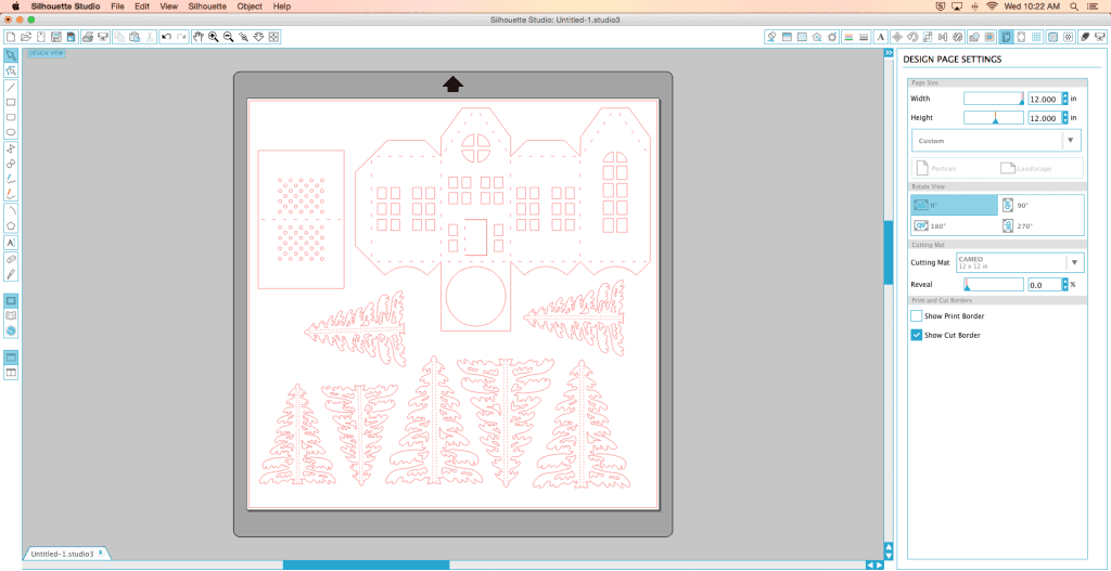 DIY Christmas Village Screen Shot of Design Page Settings on Silhouette