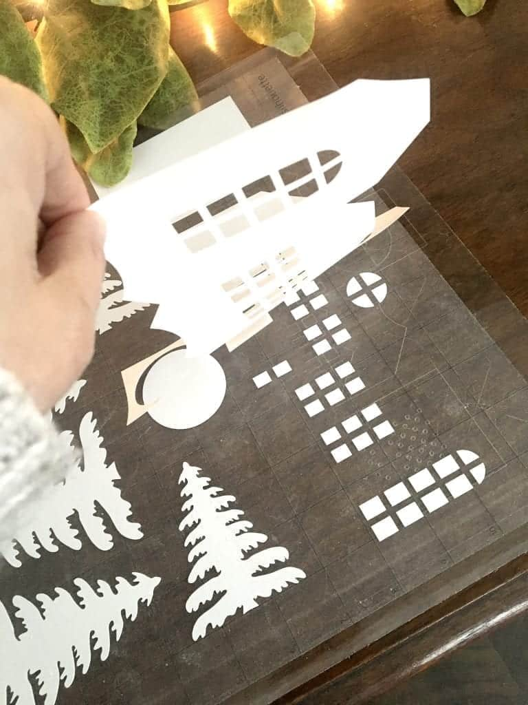 DIY Christmas Village remove your design from the cut mat