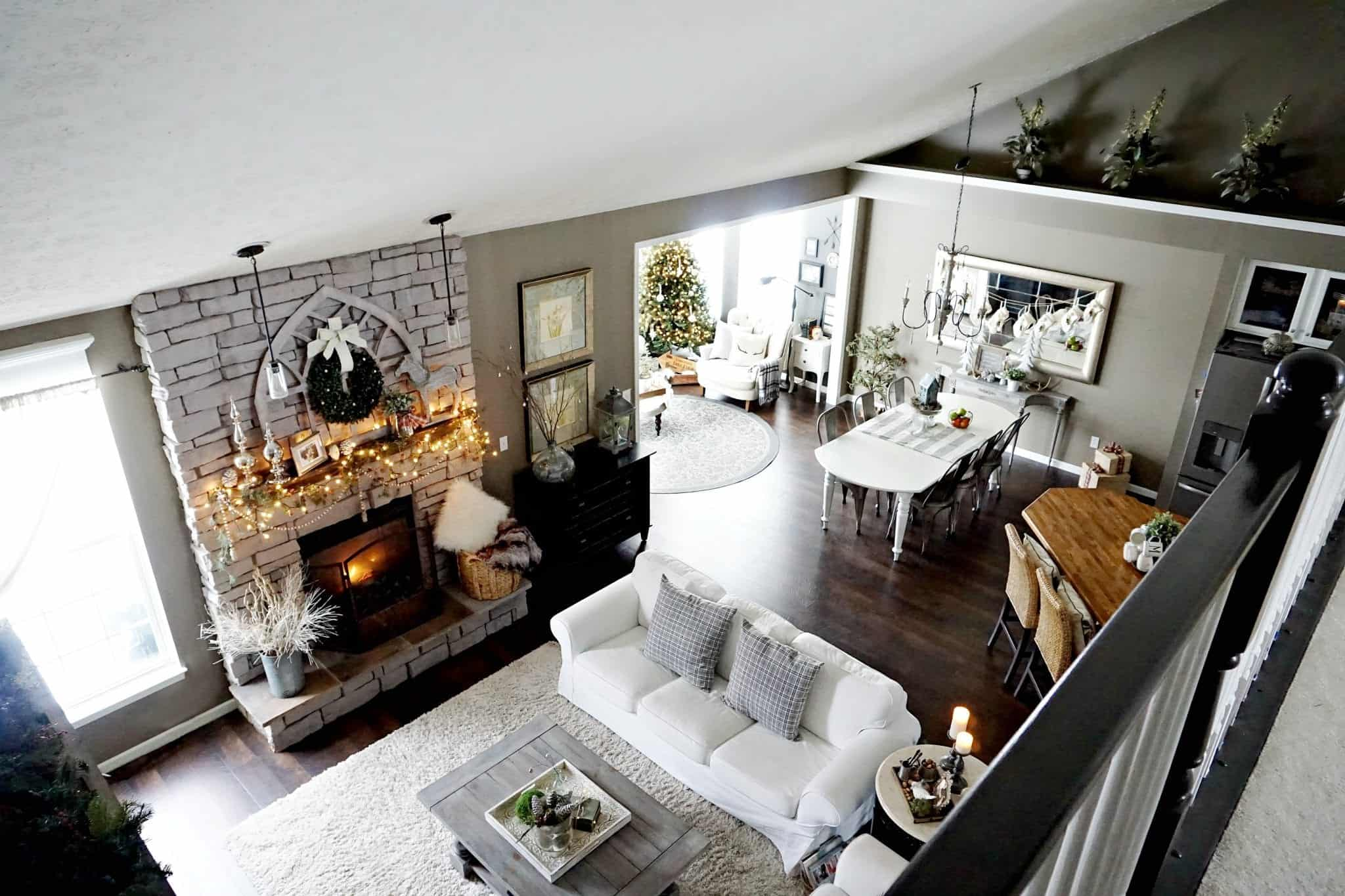 Modern Farmhouse Holiday Home Tour 2017 View from Upstairs Family Room