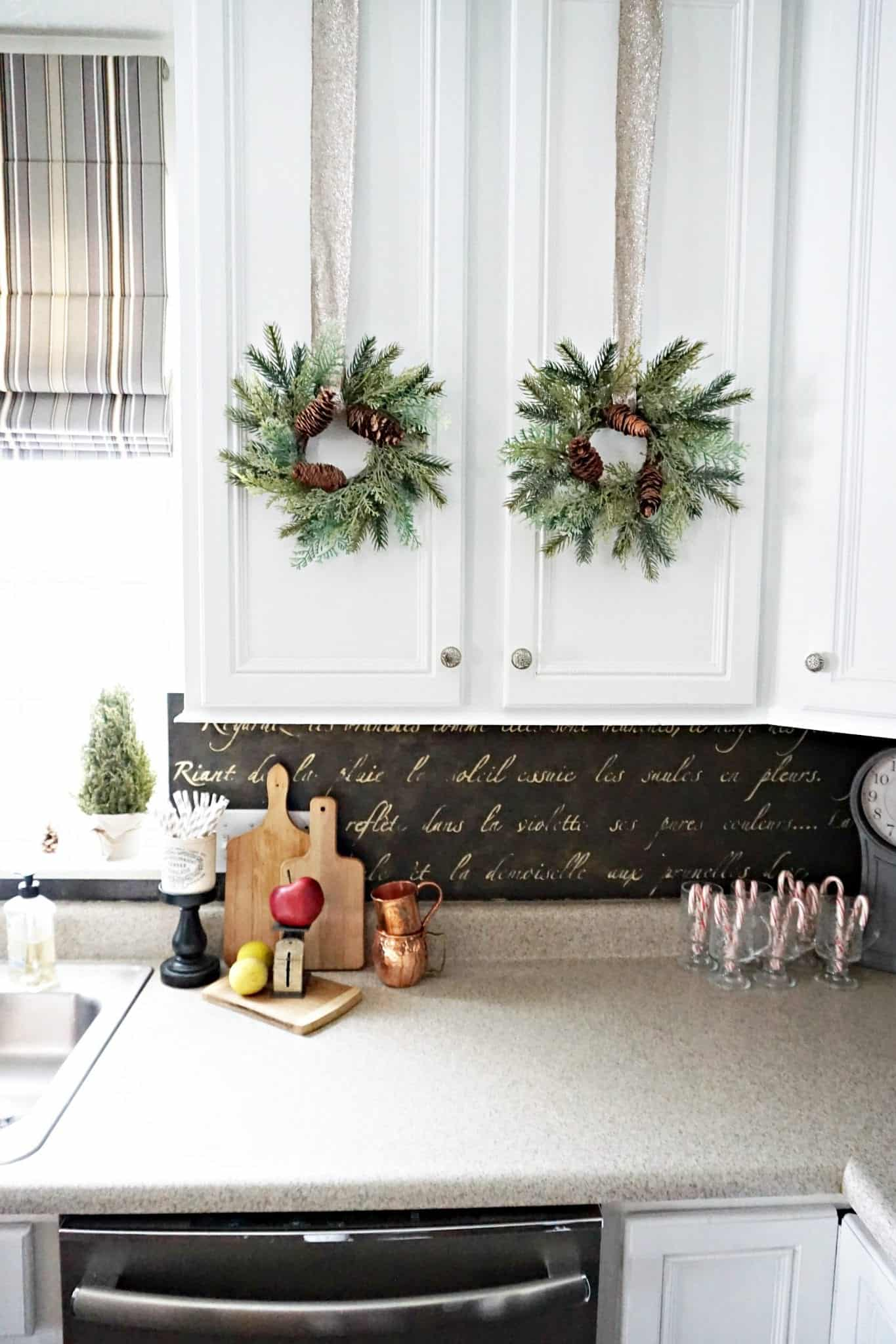 Modern Farmhouse Kitchen Holidays 2107 Stenciled Backsplash
