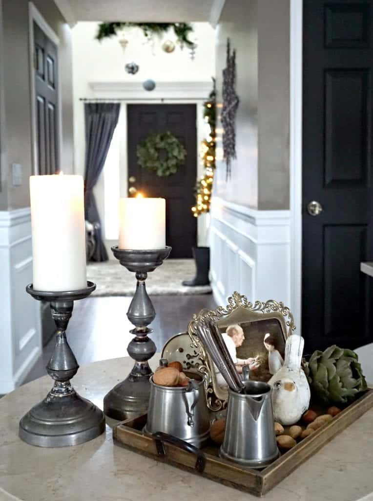Modern Rustic Holiday Home Tour 2017 Close Up of Pewter Collection