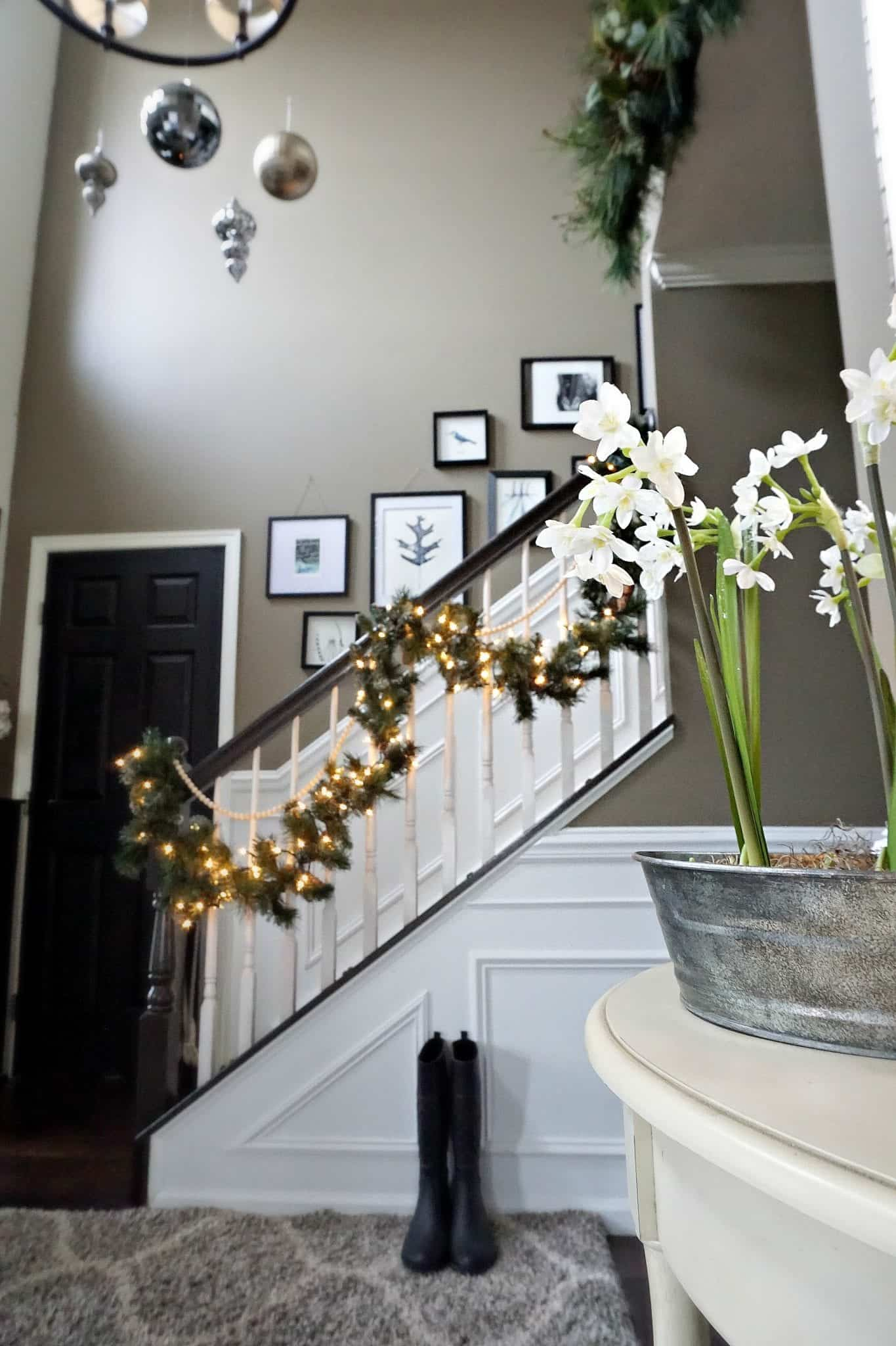 Modern Rustic Holiday Home Tour 2017 Close up of paperwhites in foyer