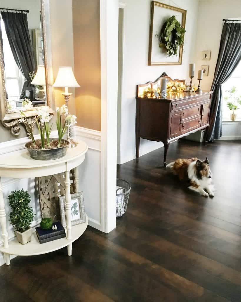 Modern Rustic Holiday Home Tour 2017 Entryway with Buffet