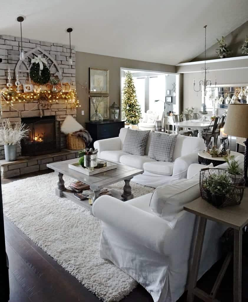 Rustic Farmhouse Family Room Holiday Home Tour 2017