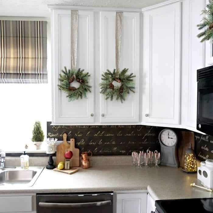 Modern Rustic Holiday Home Tour 2017 Kitchen Partial View of Cabinets