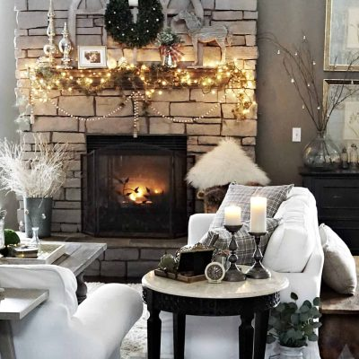 Modern Rustic Holiday Home Tour 2017 View of Family Room