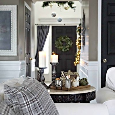 Modern Rustic Holiday Home Tour 2017 View of Front Door from White Couch