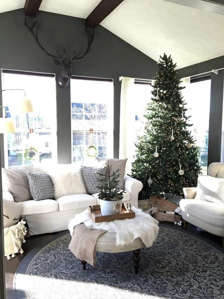 Modern Rustic Holiday Home Tour 2017 View of Sunroom