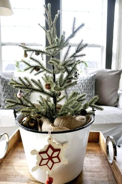 Modern Rustic Holiday Home Tour 2017 White Enamel Pot with Pine Tree