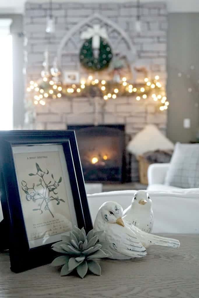 Modern Rustic Holiday Home Tour Framed Postcard with birds Close Up