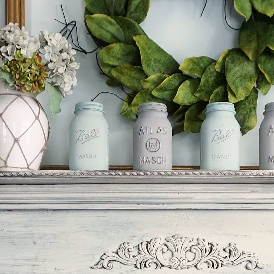 Chalk Painted Mason Jars Cover