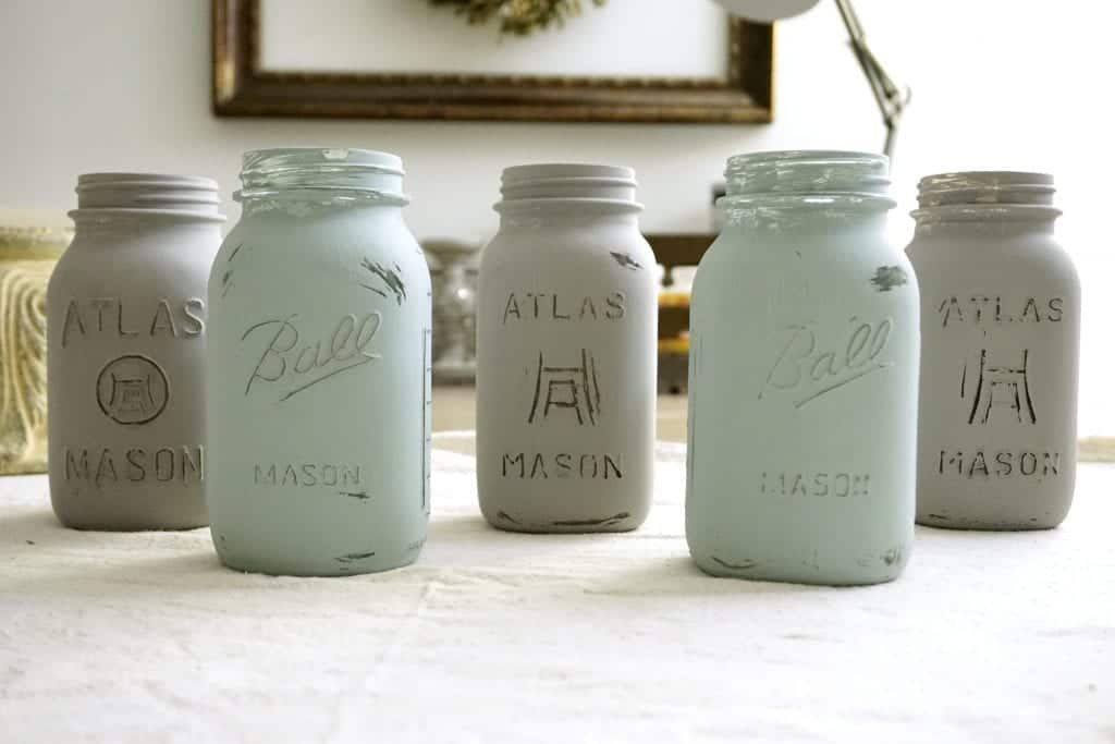 Chalk Painted Mason Jars One Layer Distressed