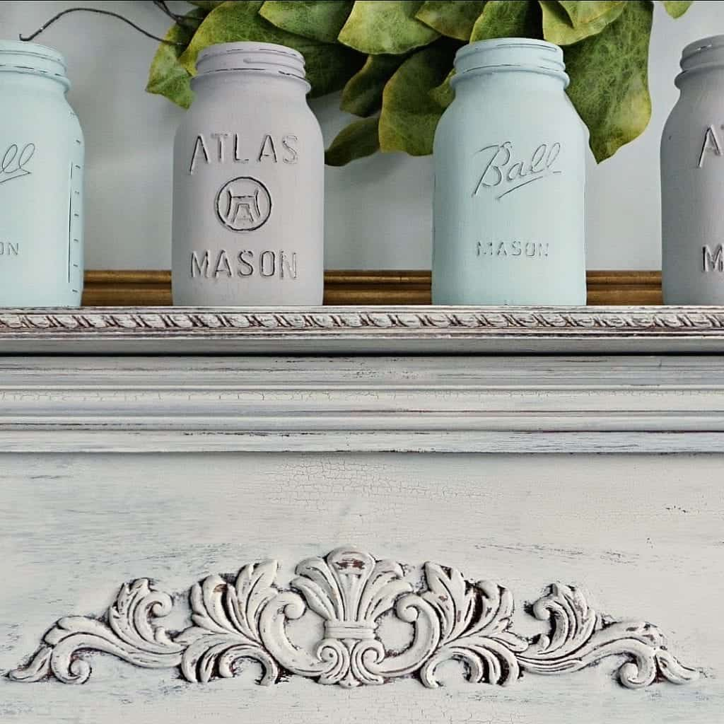 Chalk Painted Mason Jars on Chippy Mantel painted with Miss Mustard Seed Milk Paint