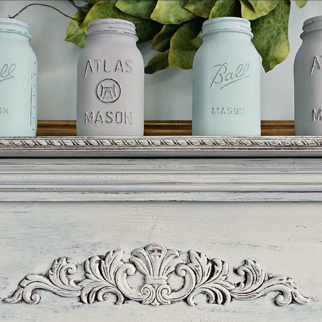 Chalk Painted Mason Jars on Chippy Mantel
