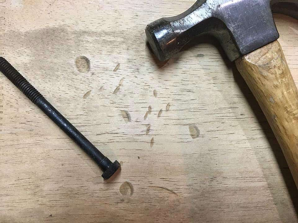 Distressed Table Methods hammer and bolt