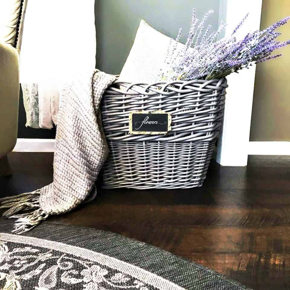 Wicker Basket Makeover Final Reveal with Rug