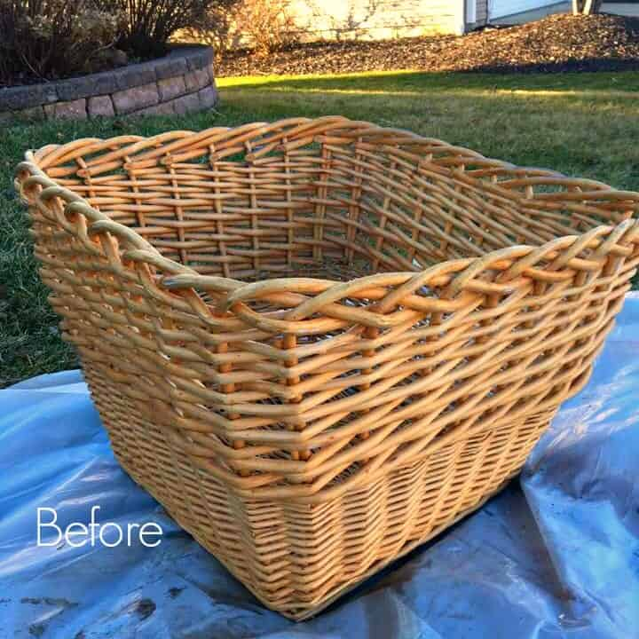 Wicker Basket Makeover Before Paint