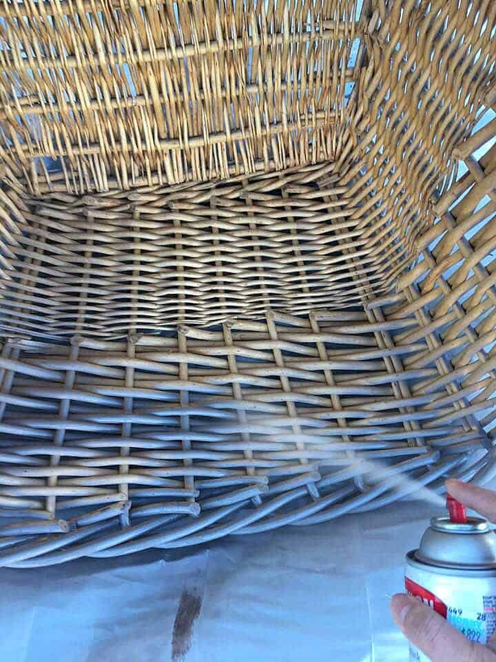 Wicker Basket Makeover Spray Paint In Process