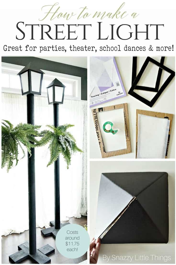 DIY street light tutorial that you can use for school dances, theater props, holiday parties (like Halloween) and more. Template is included! Each finished light is about $12! #halloweendecorating #mardigras #masqueradeball #partyplanning