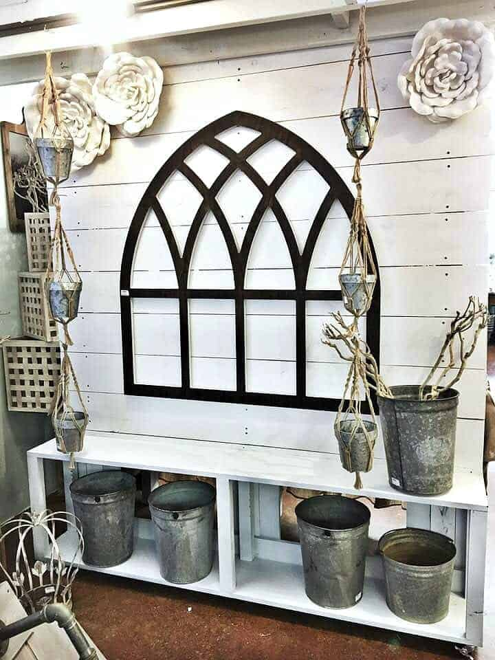 Store Tour of Snazzy Little Things Cathedral Window on Shiplap Wall