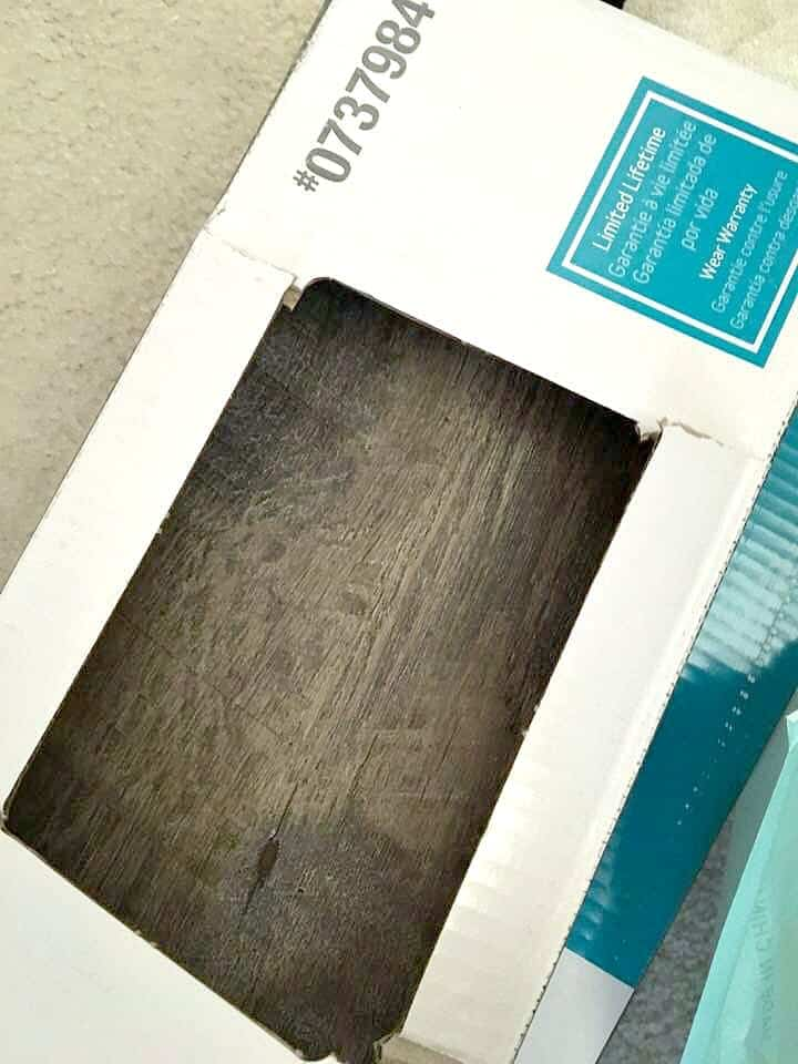 Armstrong Vinyl Plank Flooring view of box