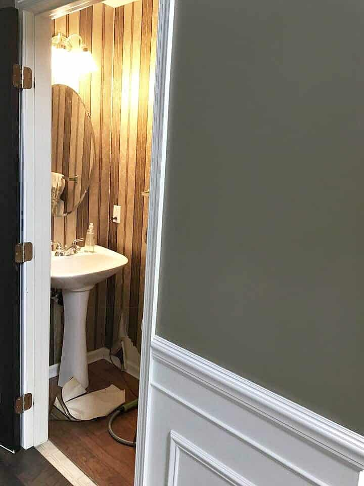 Powder Room with Wallpaper Before