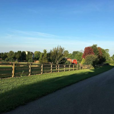 New Home Walking Trail view of red barn