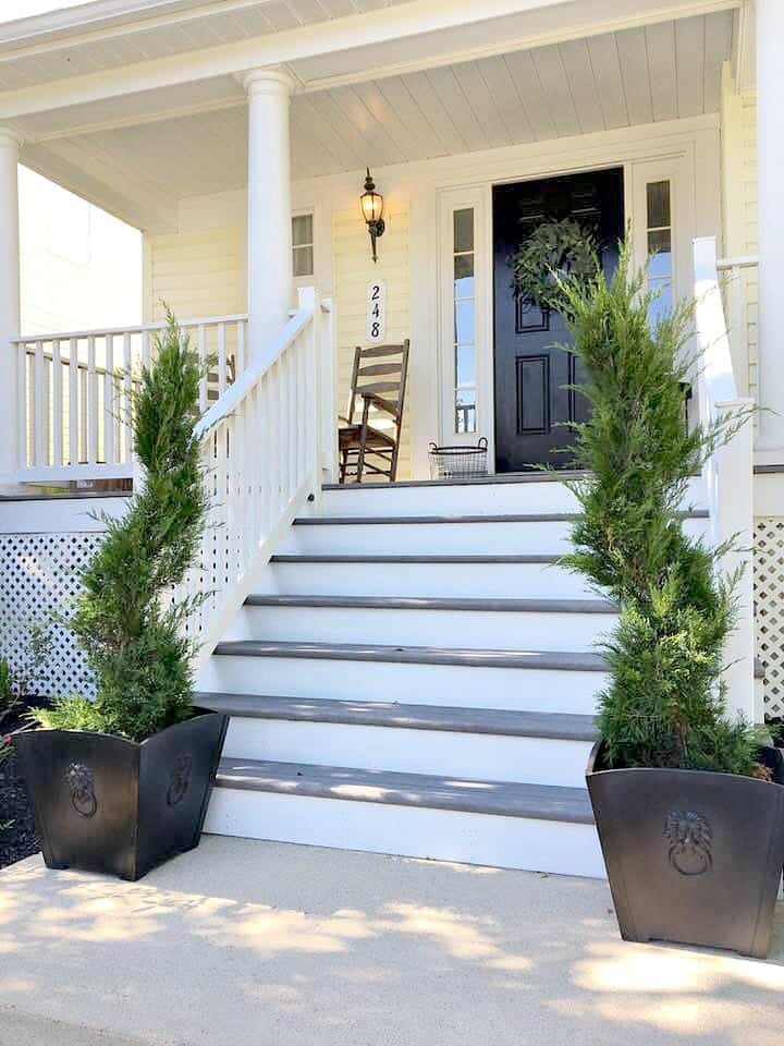 Front Porch Elements with Mint Julep Junipers