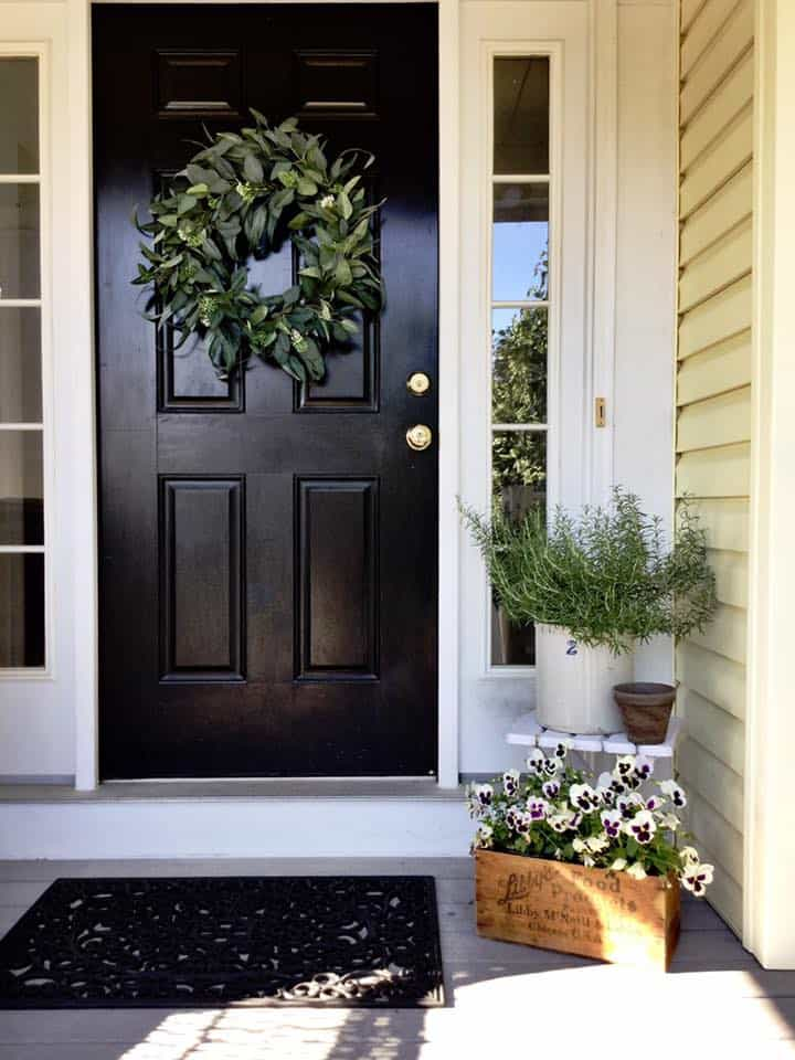 Black Door with Pansies in Antique Box