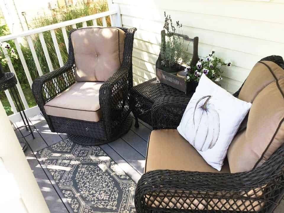 Fall Front Porch Tour New Wicker Loungers
