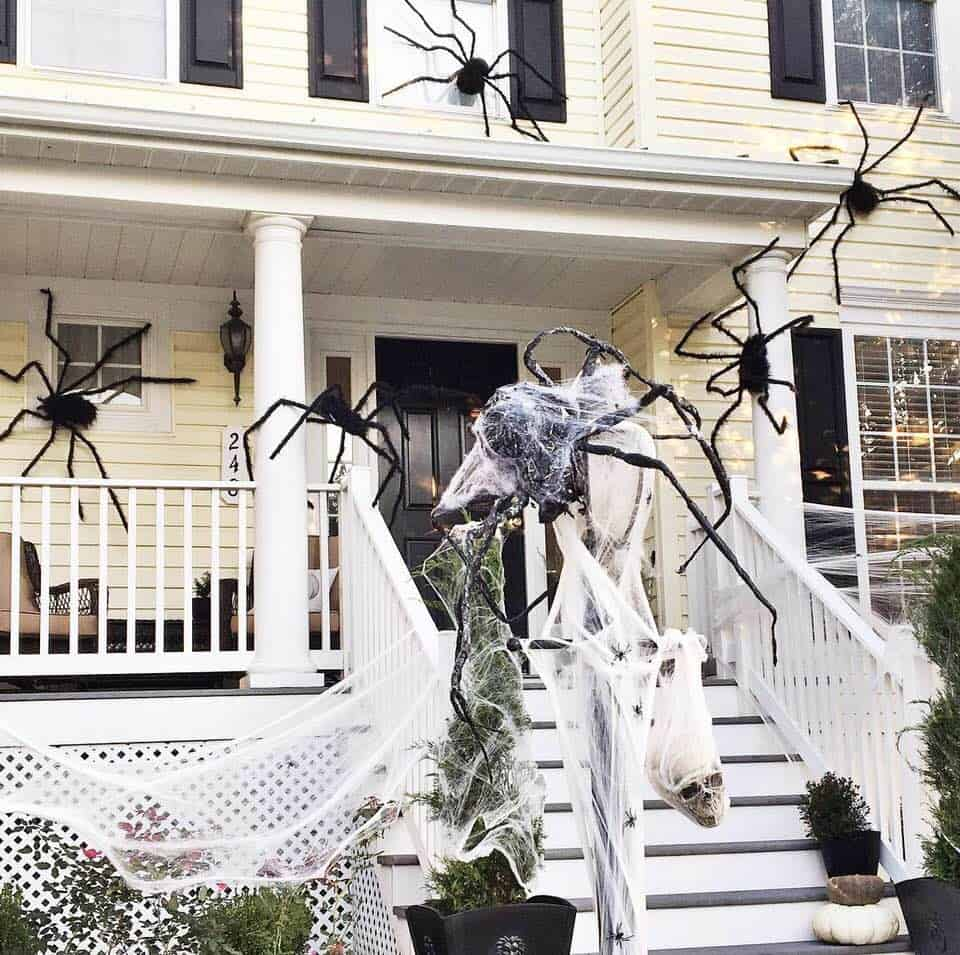 Spiders on House Halloween Decor on Lamp Post