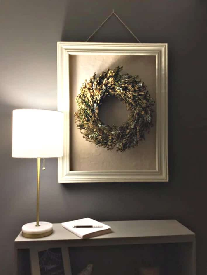One Room Challenge Night Tour of Workstation with Wreath-2