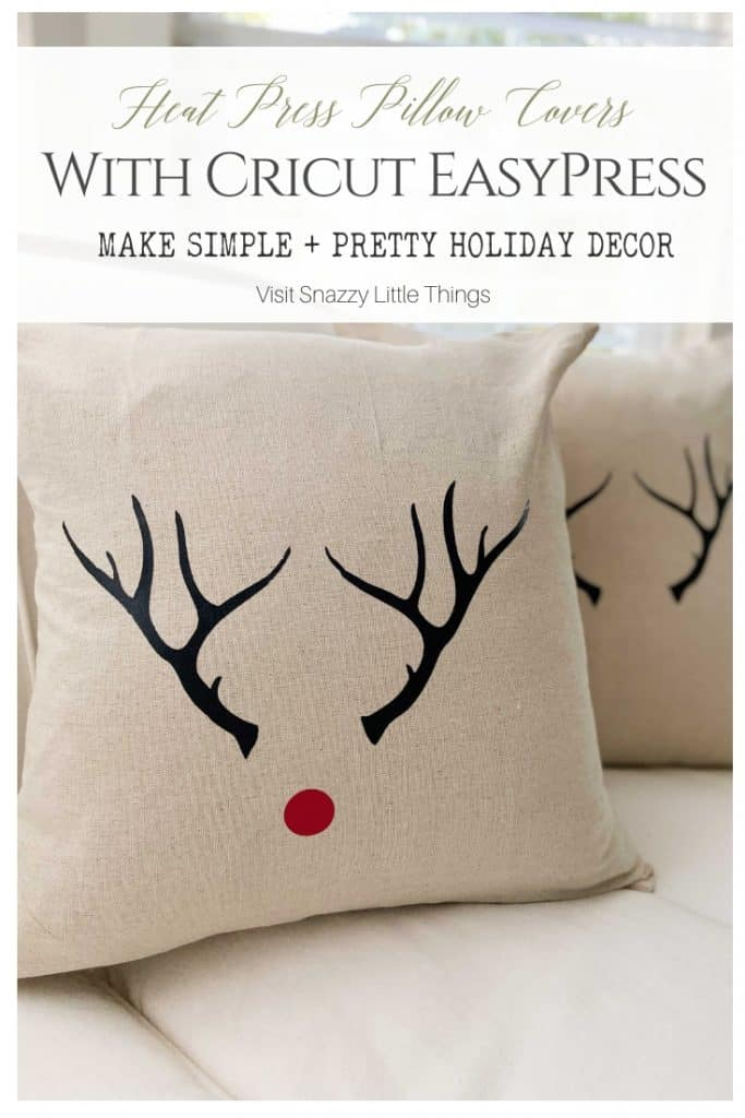 Heat Press Pillow Covers with Cricut Easypress Simple holiday decor