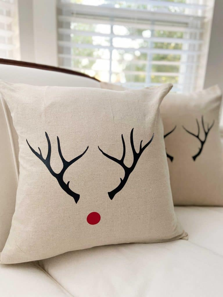 Antler Red Nose Pillow Cover by Snazzy Little Things